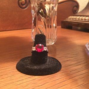 Gorgeous Fire Garnet & Pink Sapphire Ring Sz 7